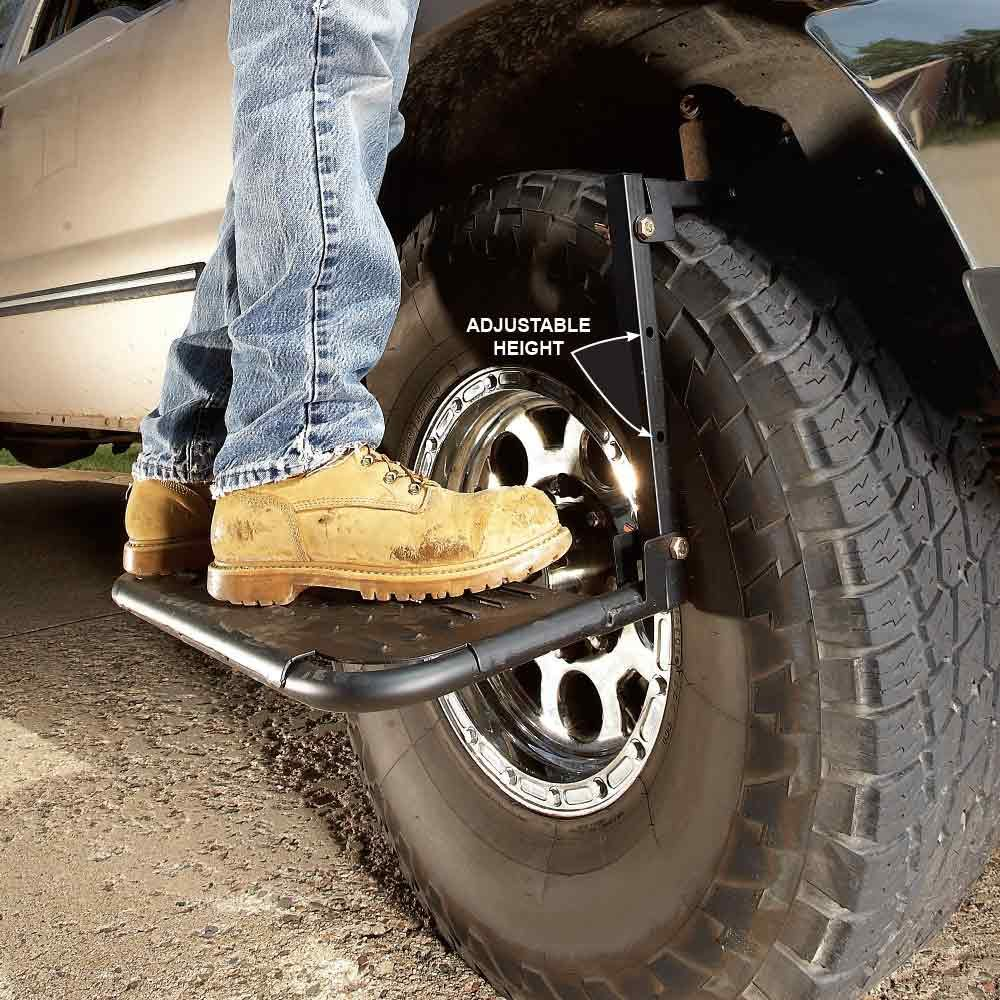 An adjustable stepping stool for wheels | Construction Pro Tips