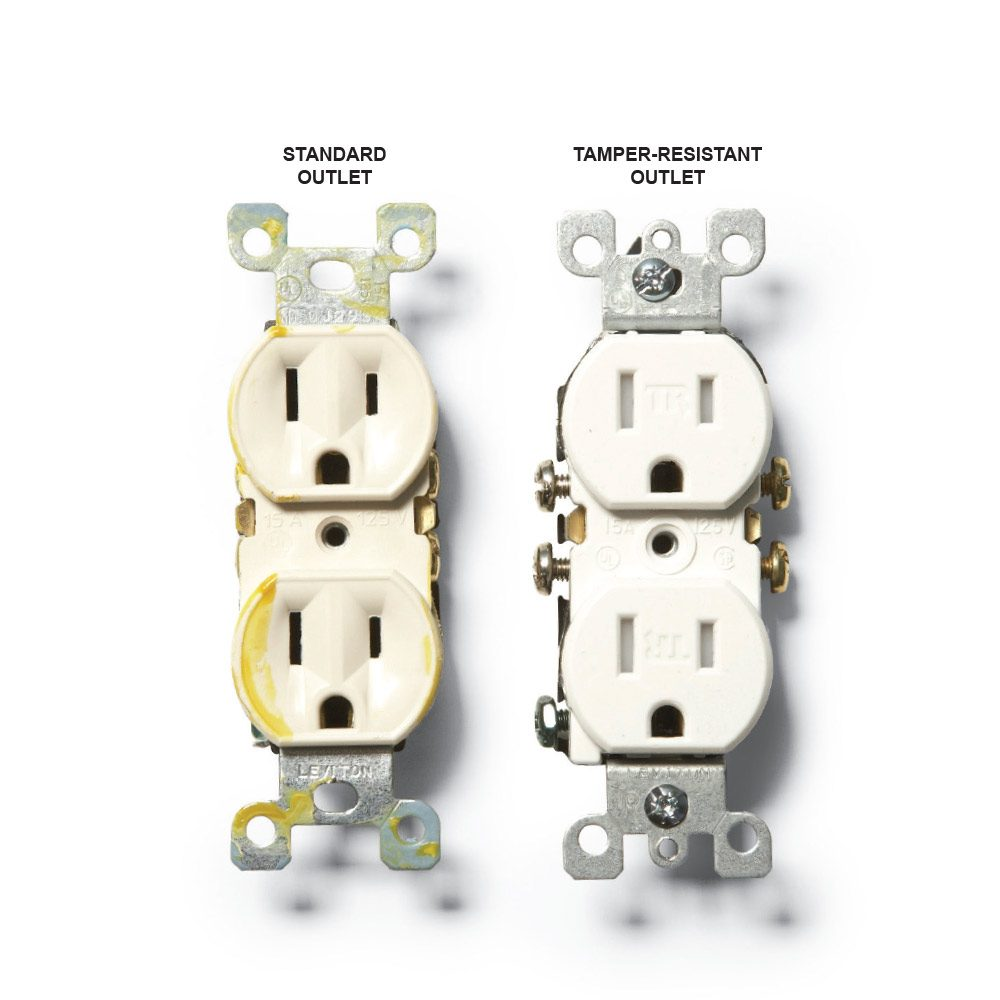 A standard outlet and a tamper resistant outlet | Construction Pro Tips