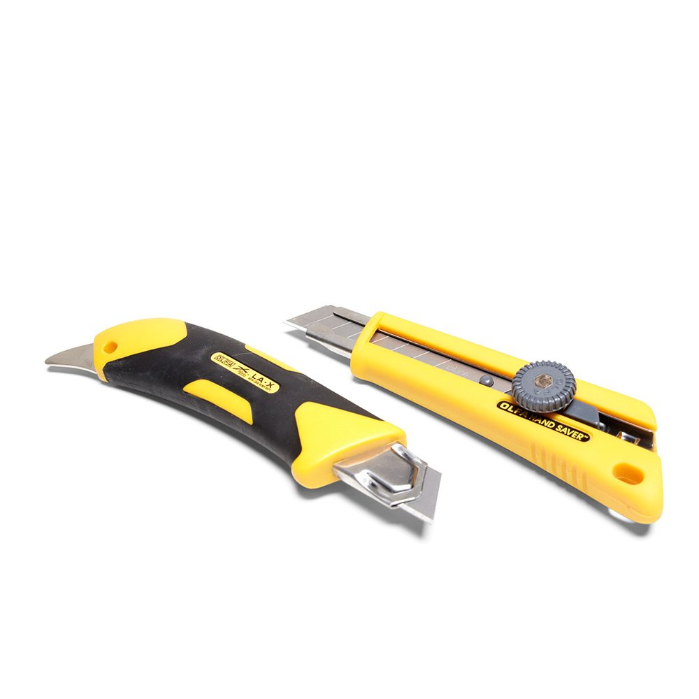 Two yellow utility knives from Olfa | Construction Pro Tips