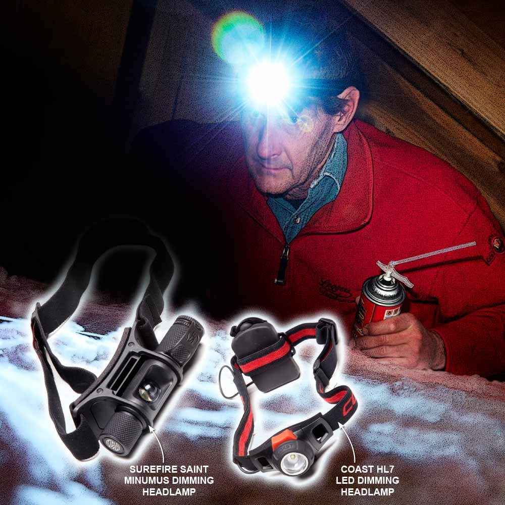 Man wearing a headlamp to investigate an attic | Construction Pro Tips