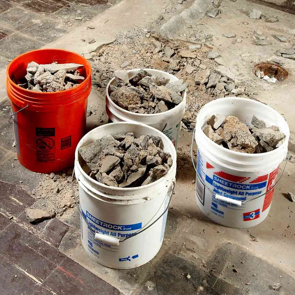 Buckets filled with rubble | Construction Pro Tips