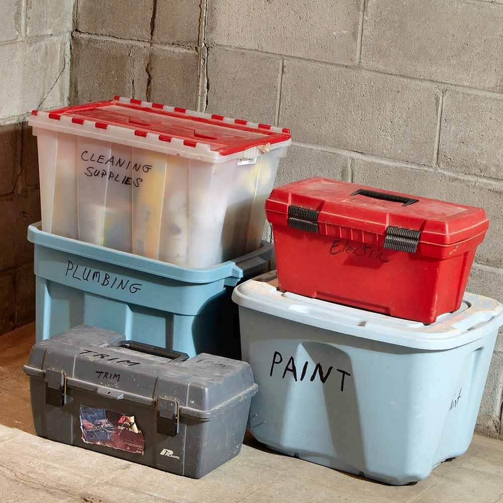 Bins labeled for what they are holding | Construction Pro Tips