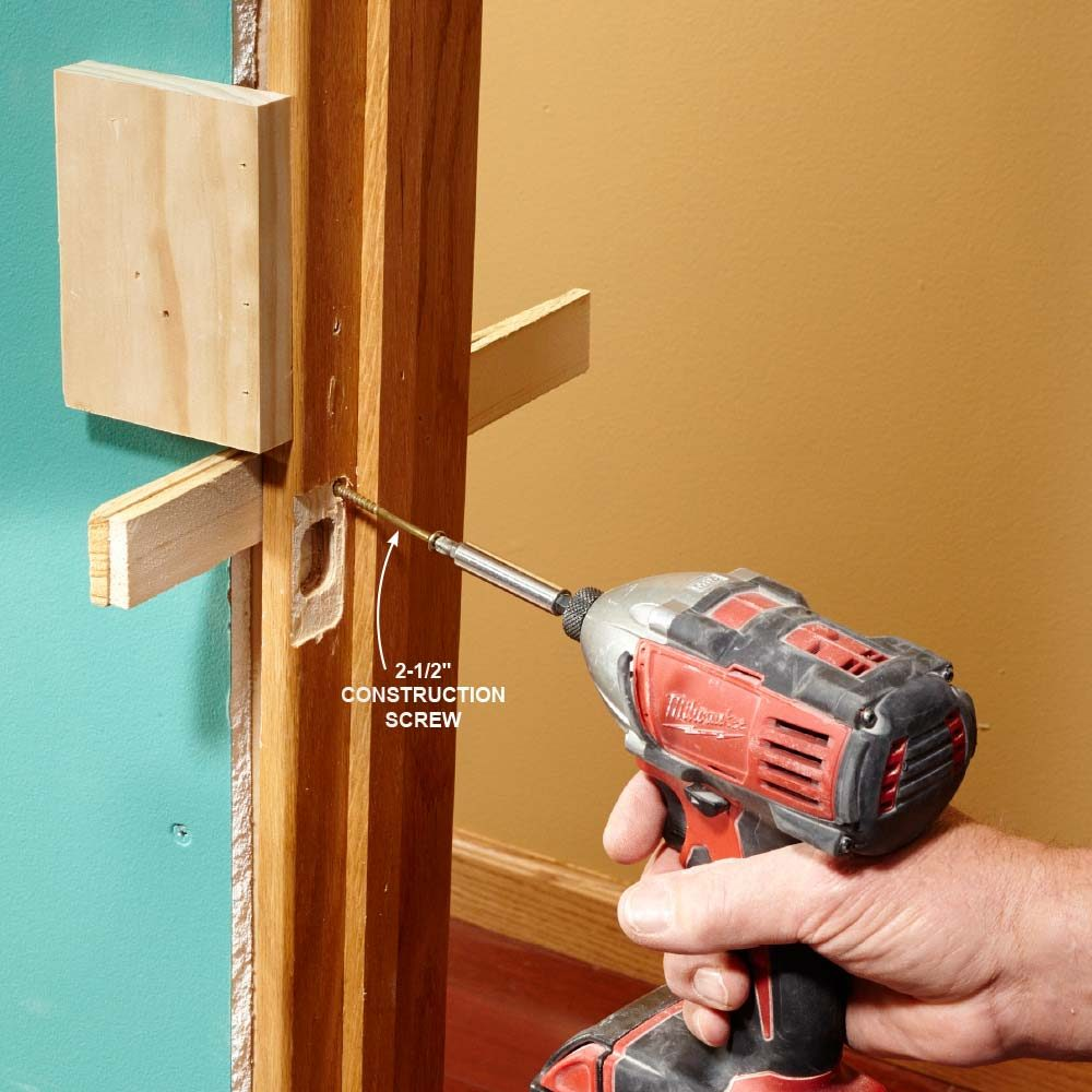 Securing the latch side of the door with a long screw | Construction Pro Tips