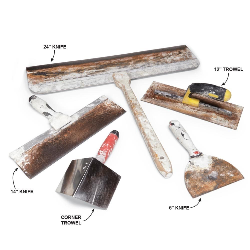 An assortment of drywall tools | Construction Pro Tips