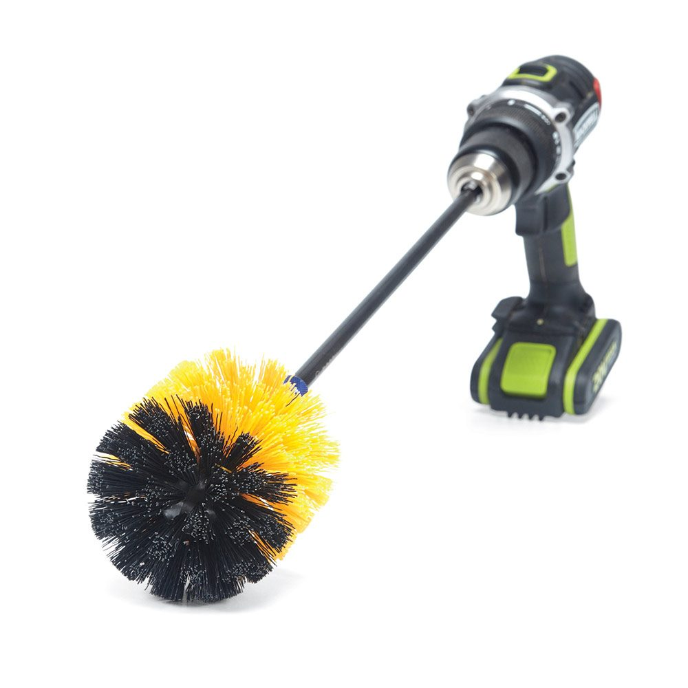 Brush connected to a drill
