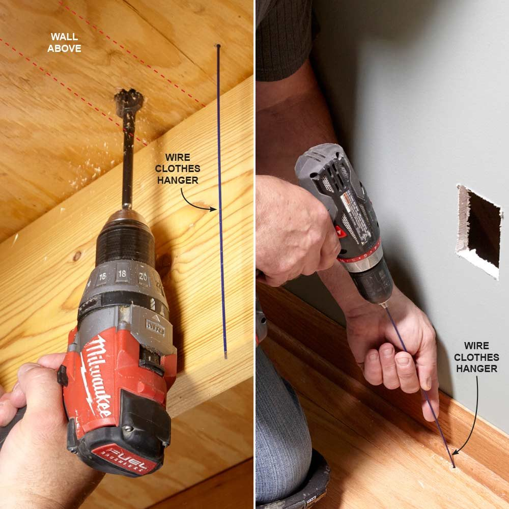 Install An Electrical Outlet Anywhere Wiring Multiple Outlets On Same Circuit Finding A Wall Cavity With Clothes Hanger Construction Pro Tips