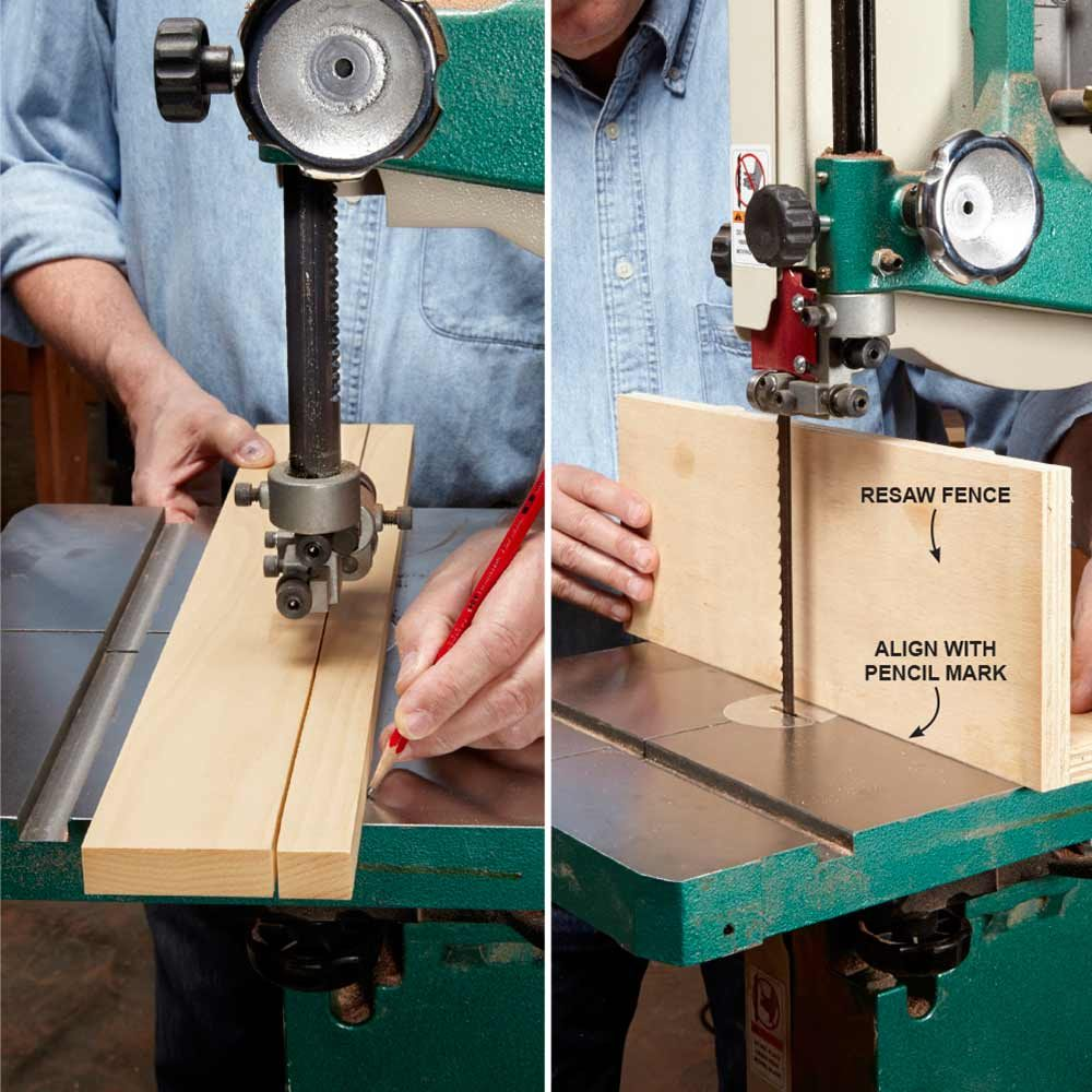 Setting the bandsaw fence at the correct angle