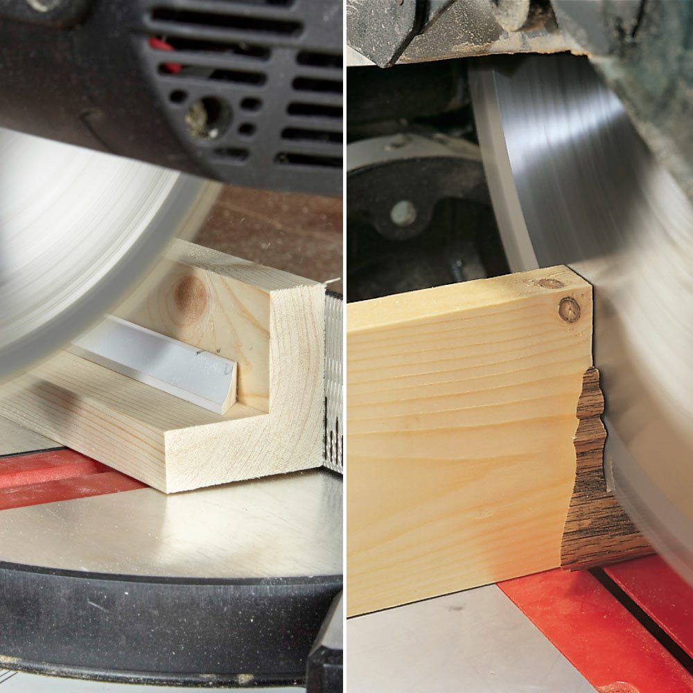 Use a Sacrificial Fence to Cut Small Parts with a Miter Saw