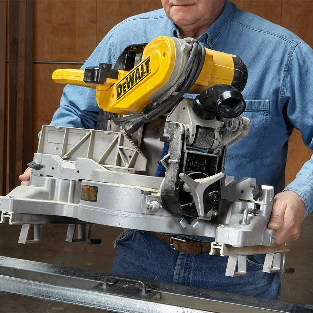 how to lift a miter saw