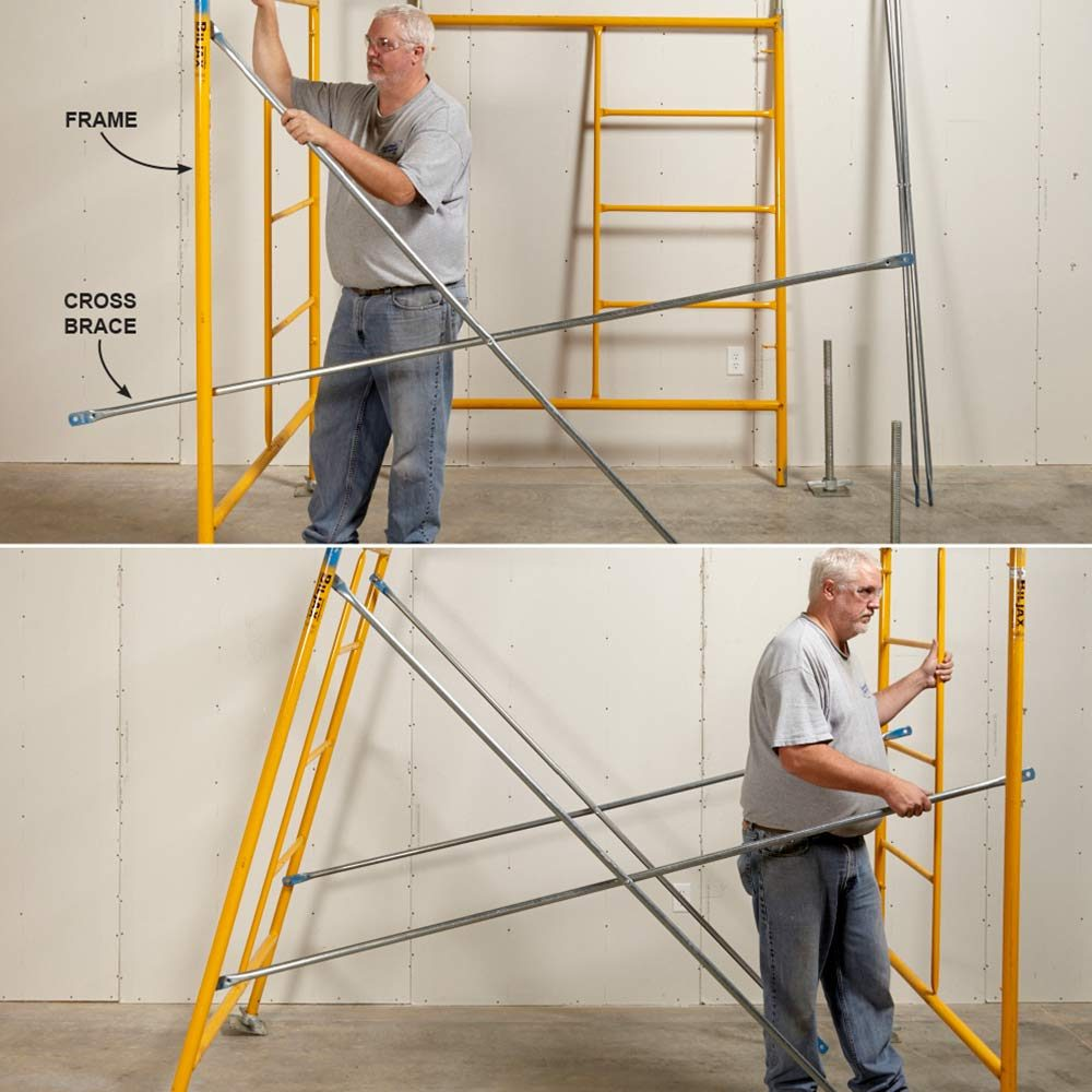 Setting up the scaffolding cross-braces | Construction Pro Tips