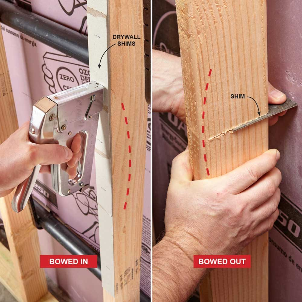 Straightening out a bowed stud | Construction Pro Tips