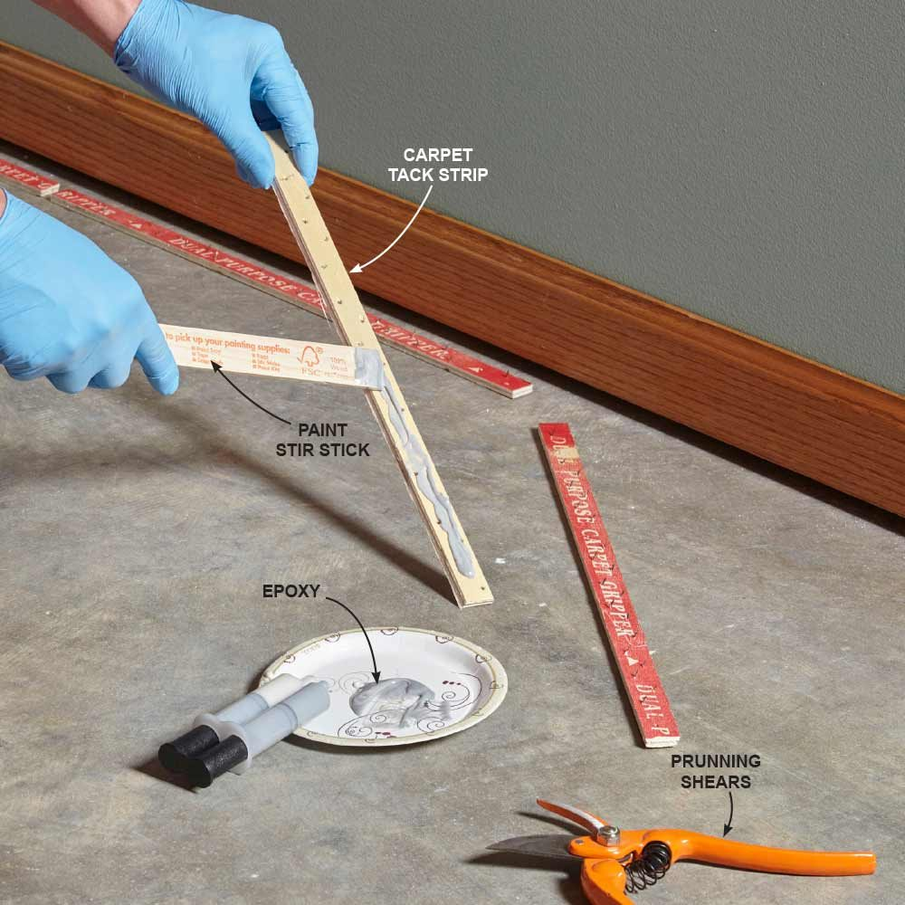 Applying glue to segments of tack strip | Construction Pro Tips