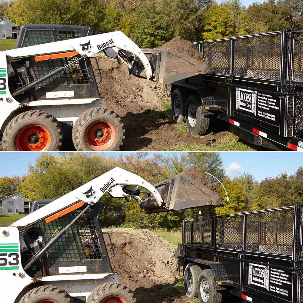 Dump a skid steer bucket