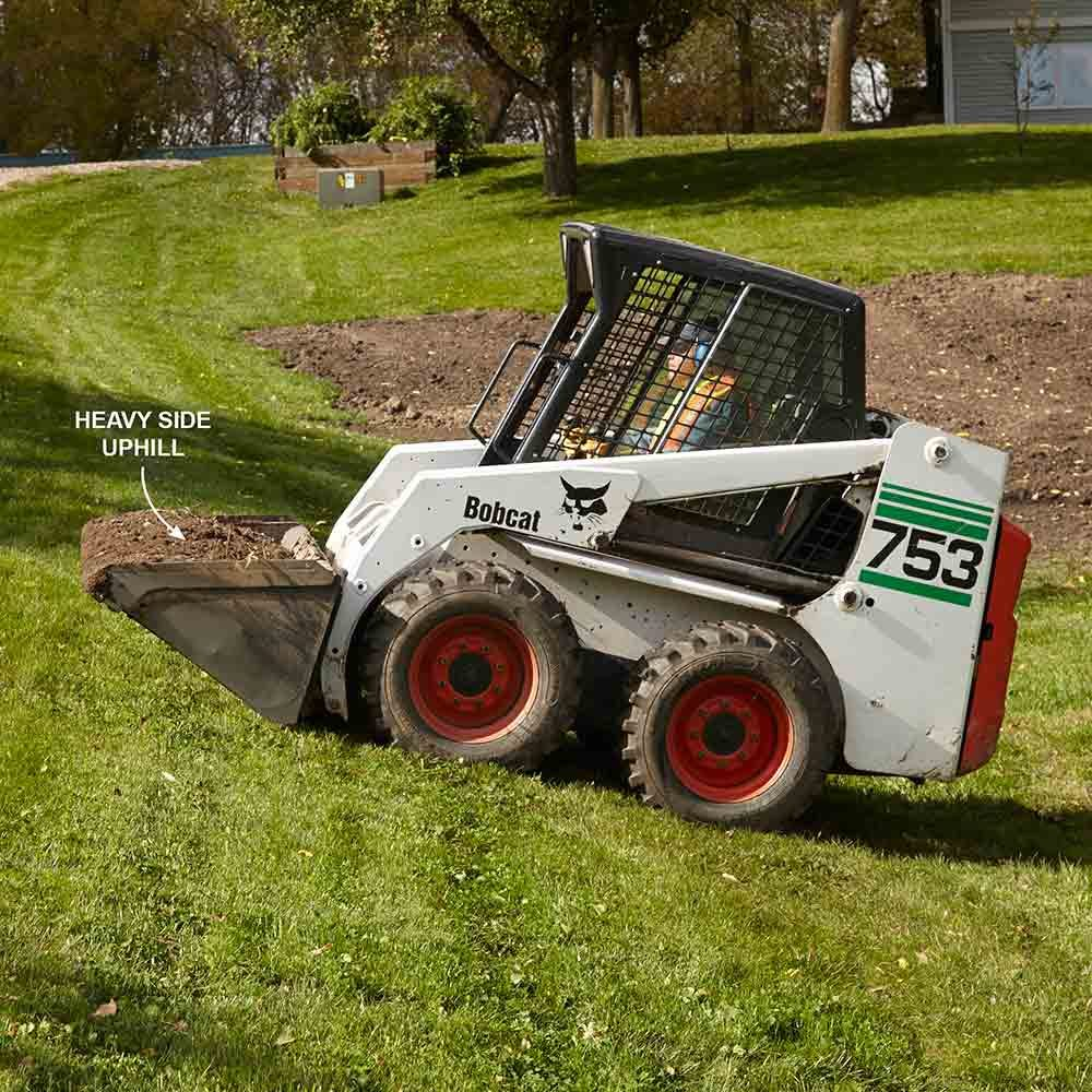 Skid steer on a hill