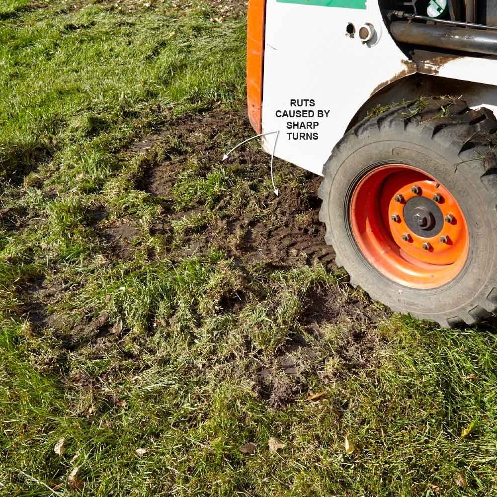 Tight Skid Steer Turns Wreck the Grass