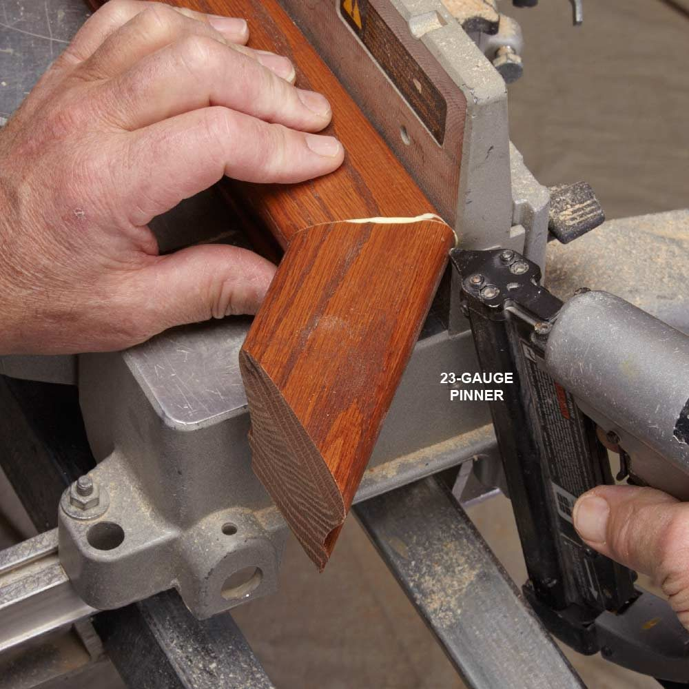 Pinning and gluing the return to the railing | Construction Pro Tips