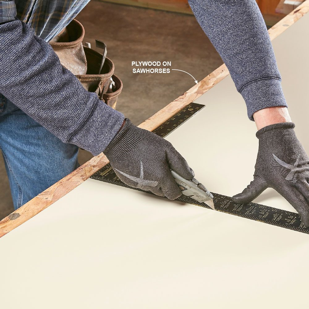 Scoring metal with a utility knife and a framing square | Construction Pro Tips