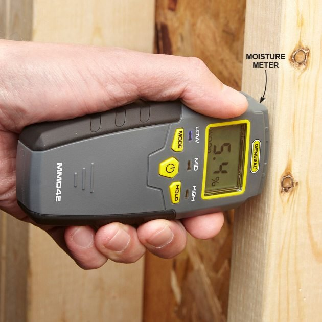 Using a moisture meter on a bare stud | Construction Pro Tips