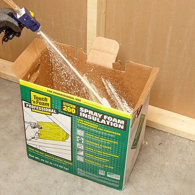 Spraying the first spray into the insulation kit box | Construction Pro Tips