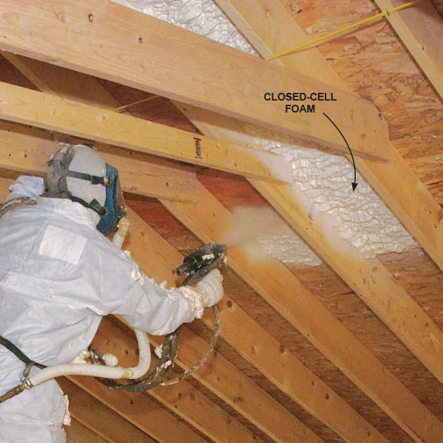 Closed-cell foam being sprayed onto ceiling | Construction Pro Tips