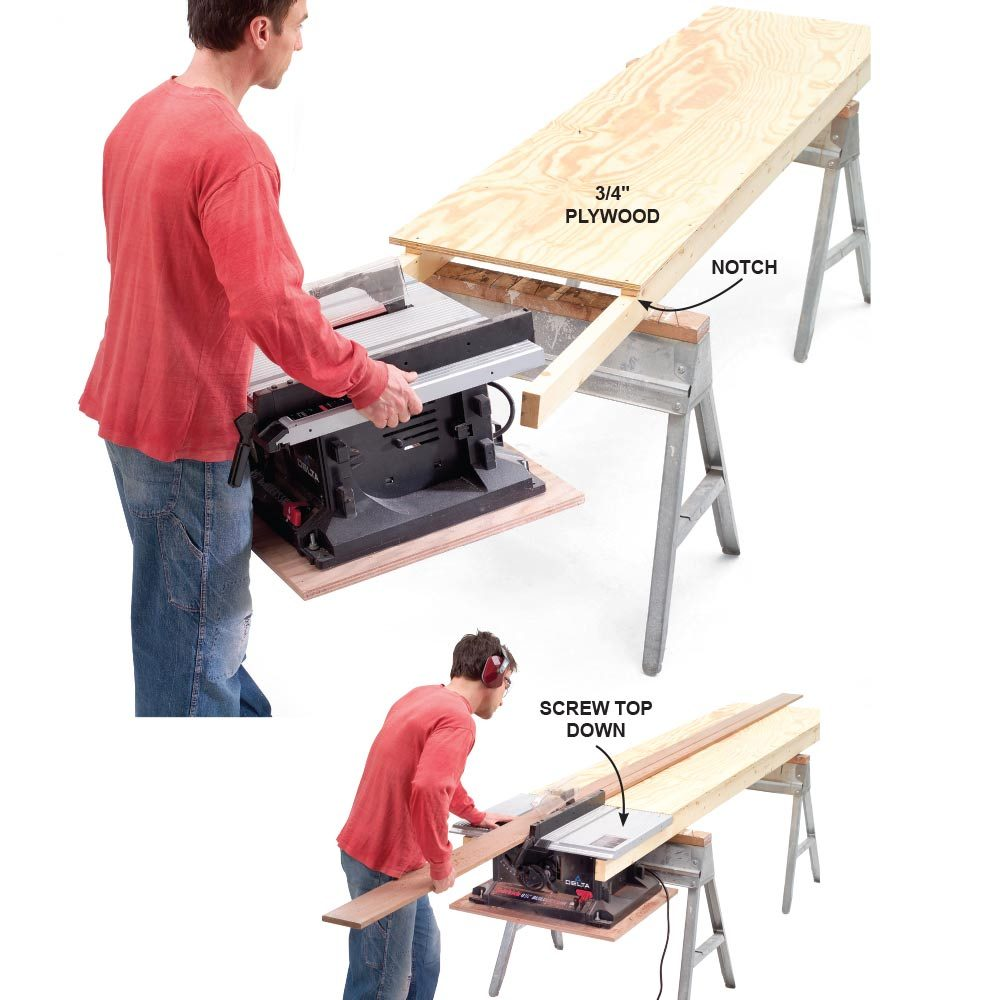 cutting edge table saw hacks construction pro tips outfeed plus