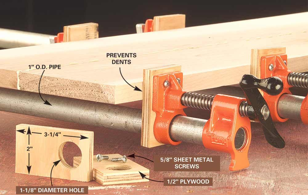Plywood attached to pipe clamps for a gentler grip | Construction Pro Tips