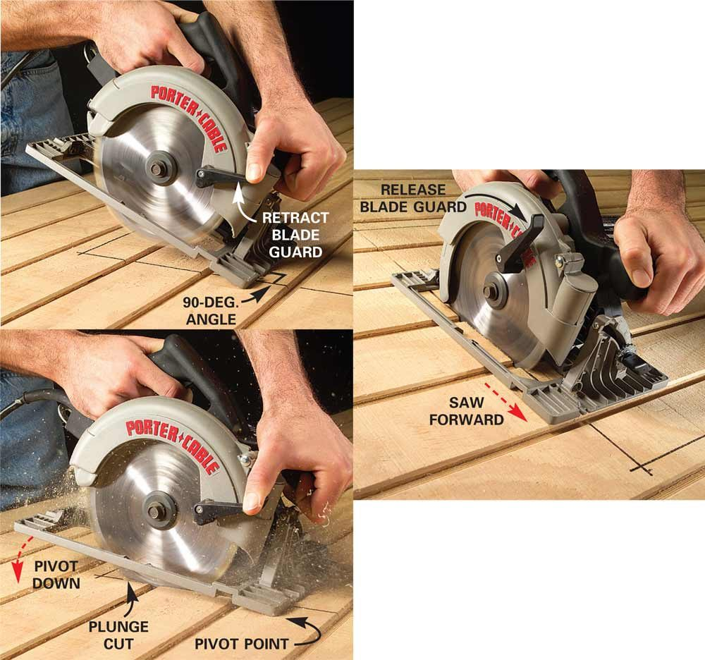 A diagram showing the safe way to make plunge cuts | Construction Pro Tips