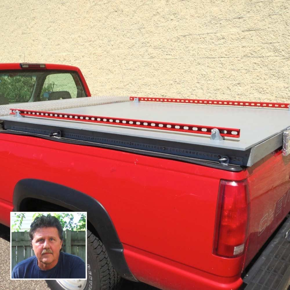 a homemade truck storage system