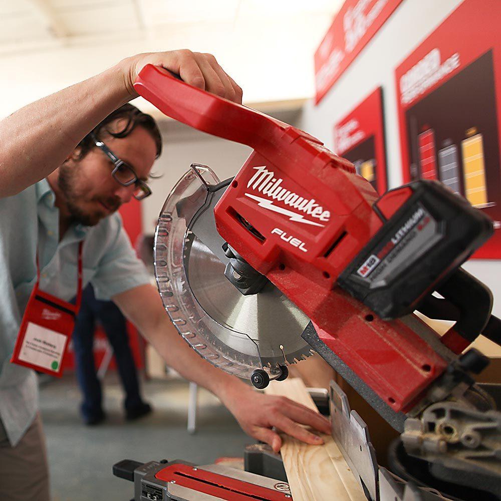 Josh Cutting Trim With Milwaukee's New Miter Saw | Construction Pro Tips