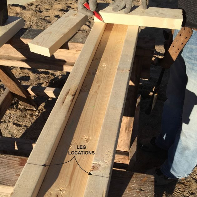 Marking the location for the saw horse leg | Construction Pro Tips