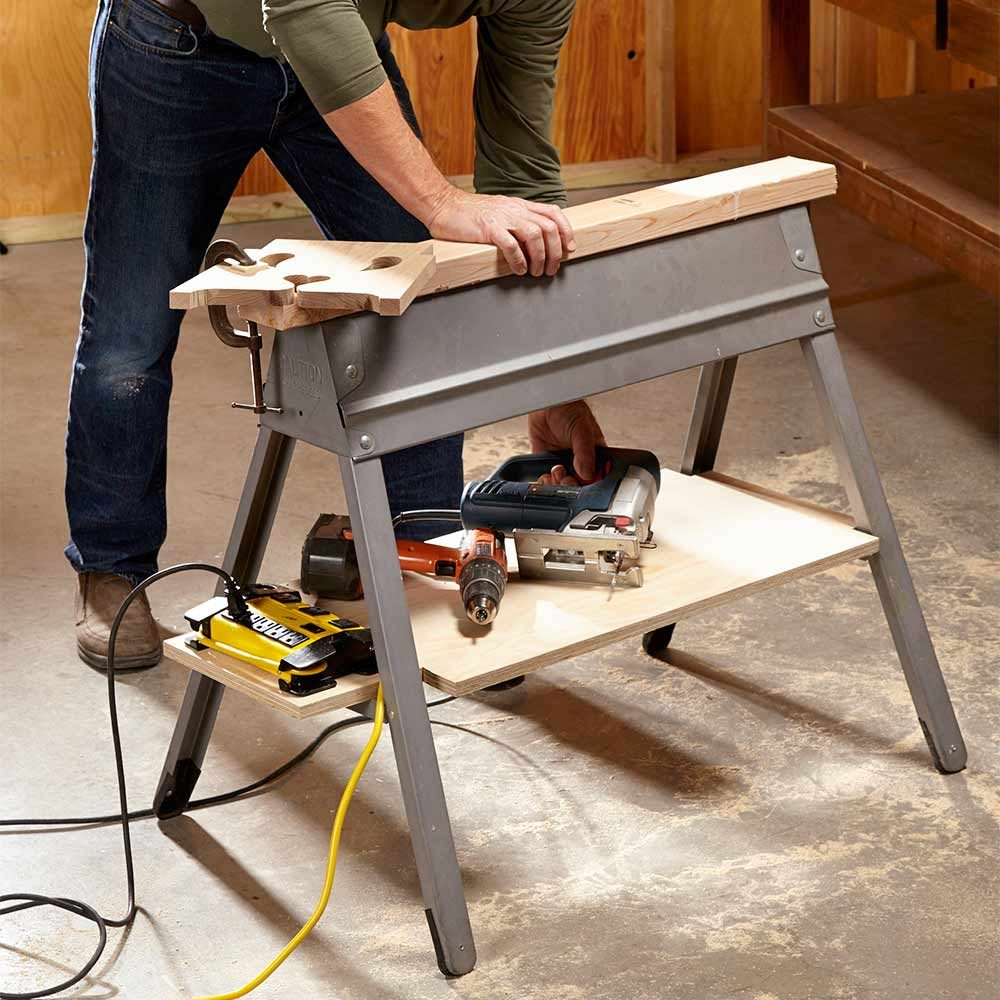A storage shelf built under a saw horse | Construction Pro Tips
