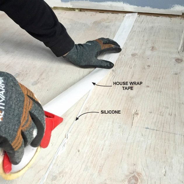 Taping over the seams before pouring | Construction Pro Tips