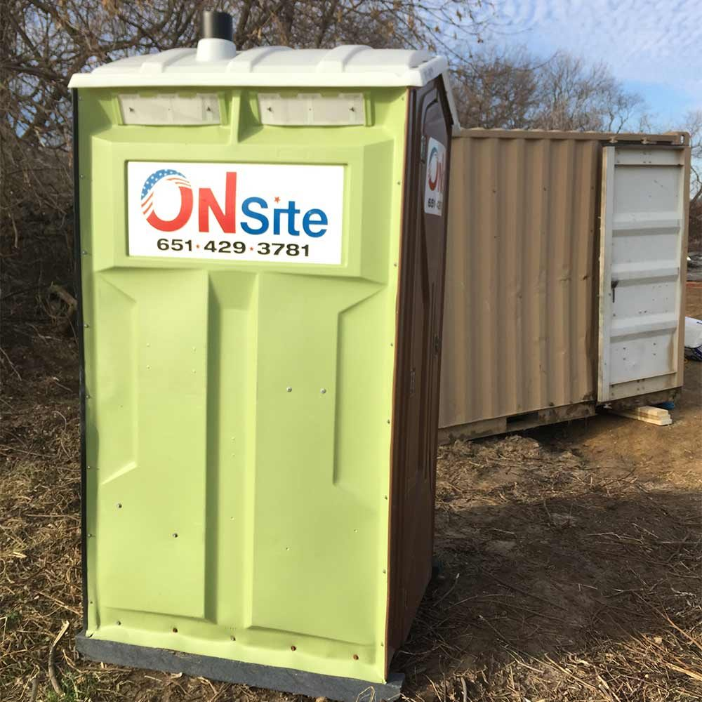 A portable bathroom on a jobsite | Construction Pro Tips