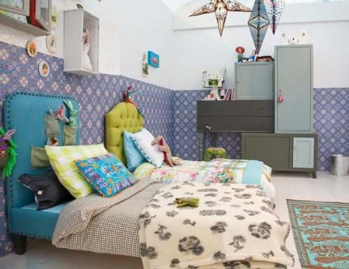 ... of blue-hued patterns?this funky bedroom is brimming with teen style.