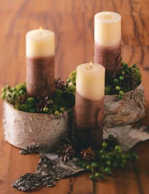 Easy birchbark Christmas and wedding centerpiece