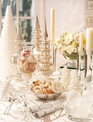 White holiday and wedding centerpiece and tabletop