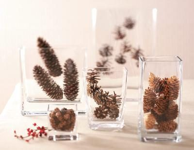Glass centerpiece vases with acorns