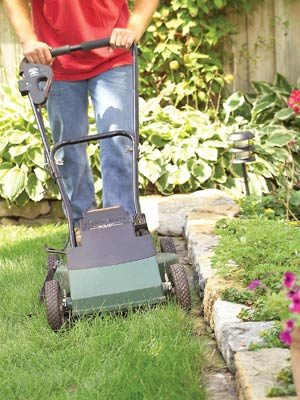 Eliminate grass trimming with a row of flat stones