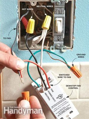 Installing a humidistat or timer switch