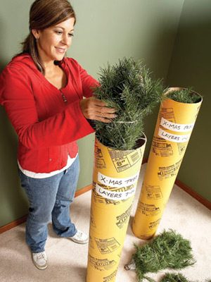 Storing artificial Christmas trees in tubes