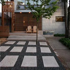 A patio built with permeable pavers