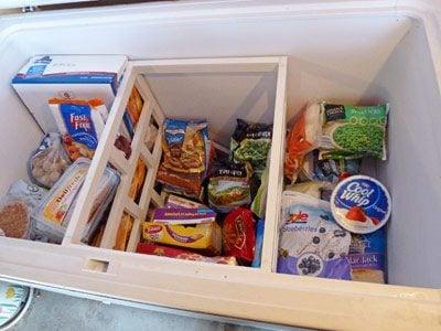 An organized chest freezer