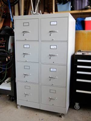 Shop Organization: Tool cabinet from used file cabinets