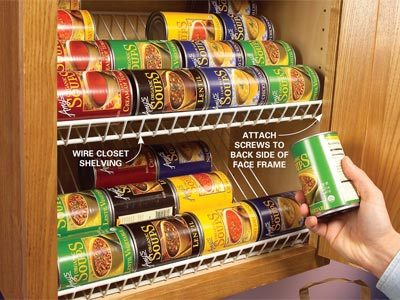 Wire shelving for canned goods