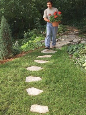 Paths that reduce grass trimming