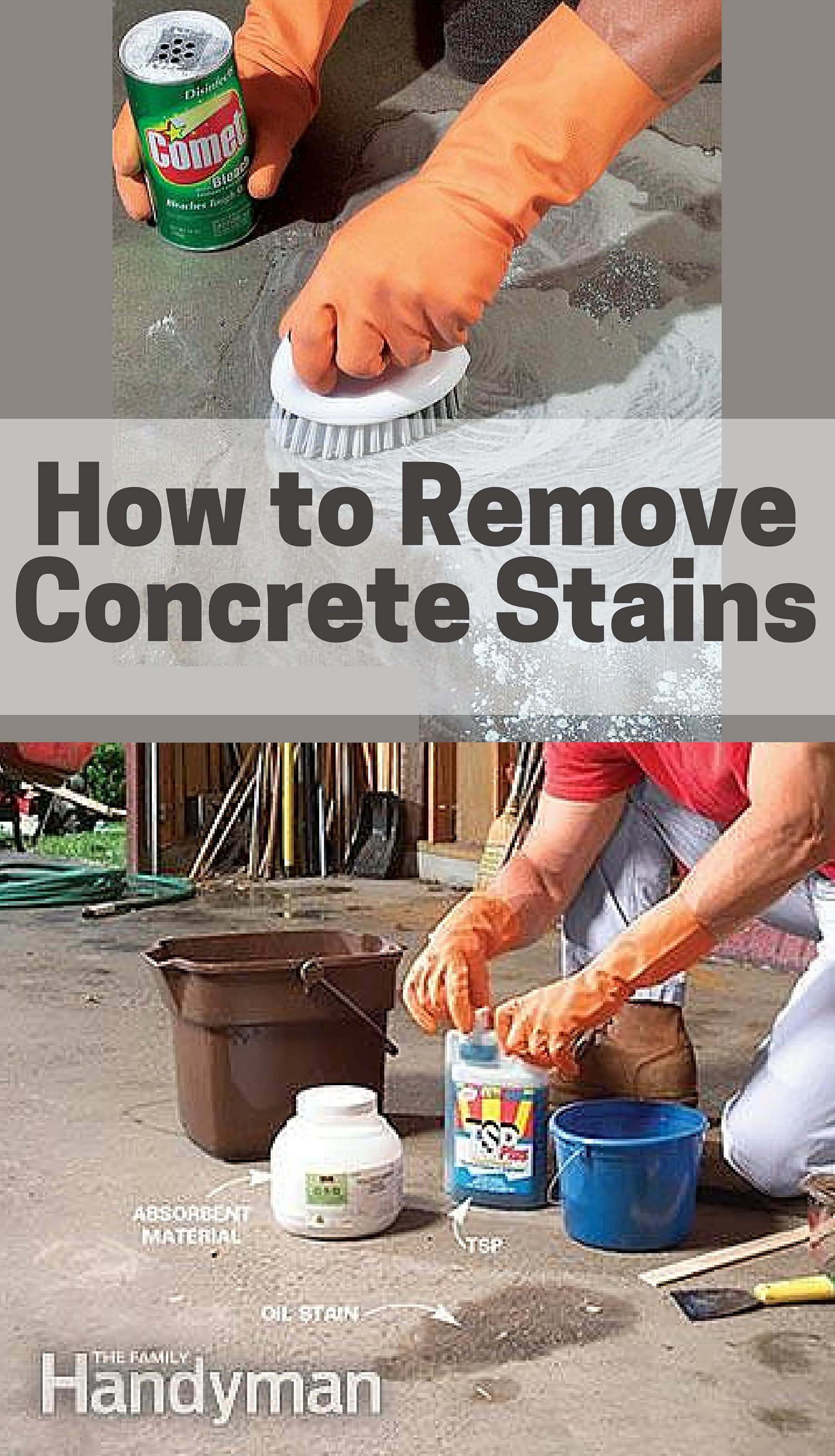 Removing oil paint and other concrete stains test the family handyman - How to remove grease stains from kitchen cabinets ...