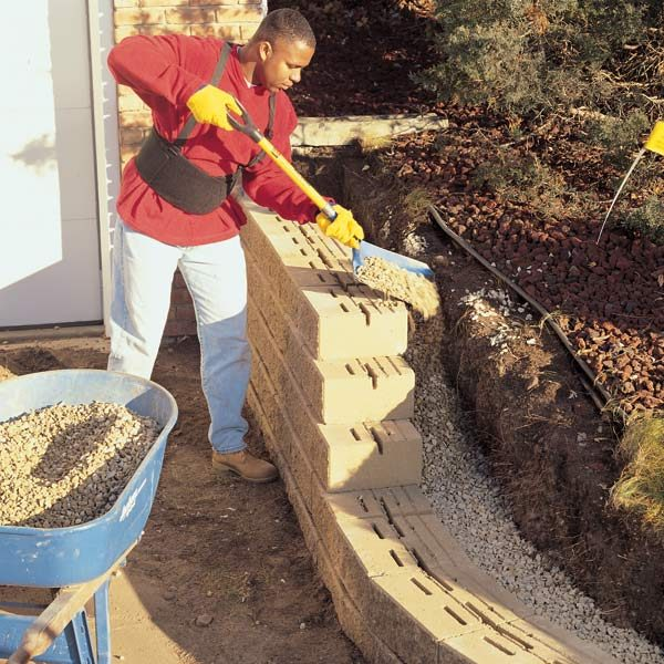 Build A Long Lasting Block Retaining Wall: How To Build A Concrete Block Retaining Wall