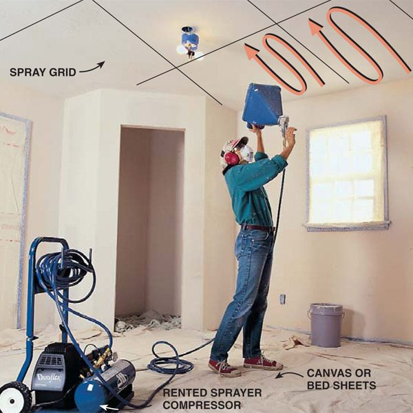 How To Apply Knock Down Ceiling Texture The Family Handyman