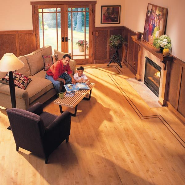 How to lay hardwood floor with a contrasting border the for Family floors