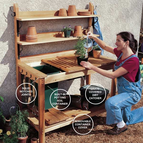 How to build a cedar potting bench the family handyman Potting bench ideas
